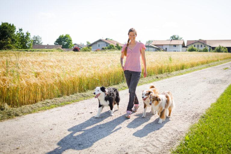 Dr. Janey May geht mit ihren drei Hunden spazieren
